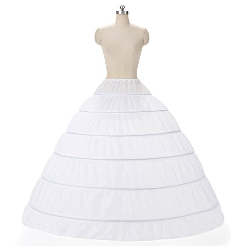 Uswear Women Crinoline 6 Hoop Petticoats Skirt Slips Floor Length Underskirt for Ball Gown Wedding Dress - Plus Skirt Slip Size