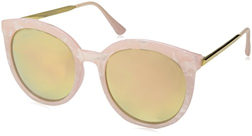 zeroUV Women's Oversized Marble Finish Metal Temple Mirrored Lens Round Sunglasses, Pink Gold / Pink Mirror, 55 - Sunglasses Mirror Finish