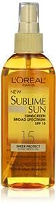 L'Oreal Paris Sublime Sun Advanced Sunscreen Oil Spray SPF 15, 5.0 Ounce