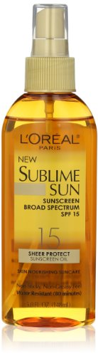 L'Oreal Paris Sublime Sun Advanced Sunscreen Oil Spray SPF 15, 5.0 Ounce