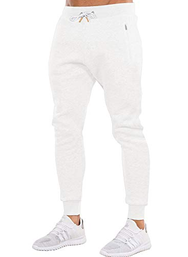 Ouber Men's Gym Jogger Pants Slim Fit Workout Running Sweatpants with Zipper Pockets (L,White) (Pants Men White Workout)