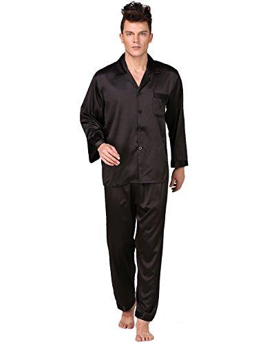 binken-mens-classic-satin-pajama-set-long-sleeve-loungewear-m-black
