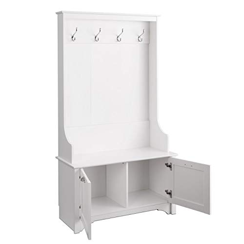 White Wood with Shaker Doored Cabinets Organizing Your Space with Sophistication Hall Trees with Bench and Coat Racks