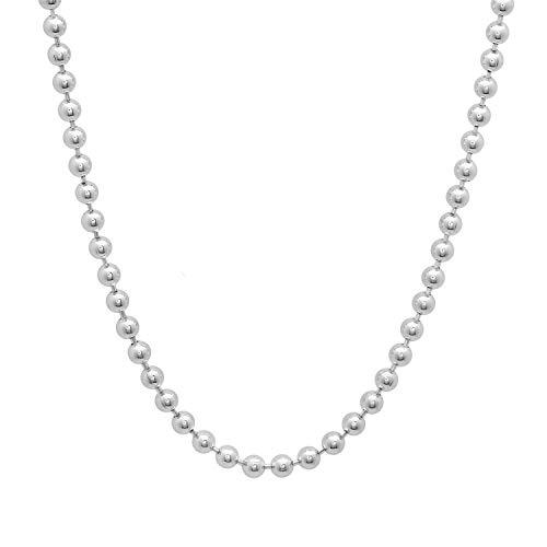 Verona Jewelers 925 Sterling Silver Italian 1.5MM, 2MM Silver Bead Ball Chain Necklace, Sterling Silver Bead Necklace, Silver Ball Necklaces, Italian Bead Necklace, Silver Beaded Necklace (24, 4MM)