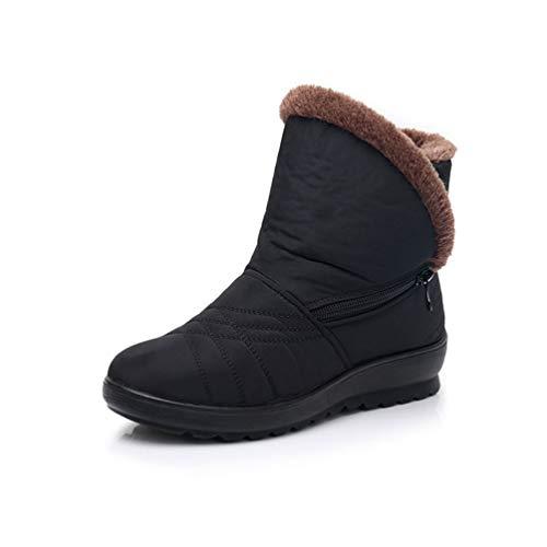 Ocio Botines Forro Libre Negro3 Impermeable Antideslizante Invierno Botas Cayuan Aire Mujeres Zapatos De Plano Al Con Nieve Calentar wqUBzax0