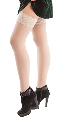 ITA-MED Sheer Compression 23-30 mmHg Thigh High Stockings Varicose Vein Nurse Hose Socks for Women, H-80 2X-Large Nude
