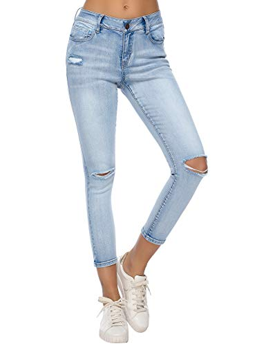(Resfeber Women's Boyfriend Jeans Distressed Slim Fit Ripped Jeans Comfy Stretch Skinny Jeans ((RS) AMW7297-Lightwash, 16))