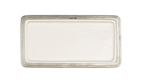 Pewter Rectangular Tray - Arte Italica Tuscan Rectangular Tray, Medium, White