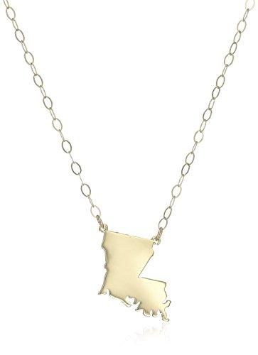 (10k Yellow Gold Louisiana State Pendant Necklace, 16