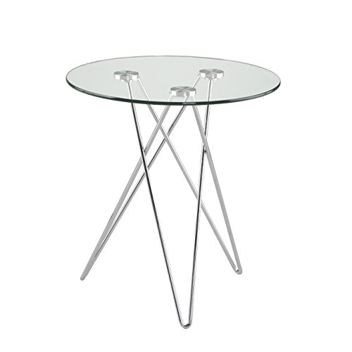 Euro Style Zoey Round Glass Top Side Table with Chromed Steel Base