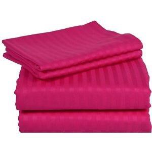 Rajlinen 100% Cotton Bed Sheet Set - 300 Thread Count Sateen - 15 inch Deep Pocket - Quality Luxury Bedding - 4 Piece (Hot Pink Stripe King)