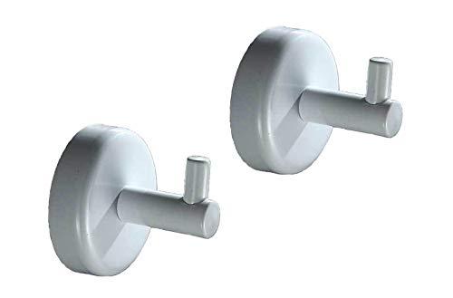 ICASA SUS 304 Stainless Steel Coat Hook Single Robe, Bathroom Single Towel Hook, 2 PCS Towel Rack for Bathroom Bedroom Kitchens, Waterproof / Heavy Duty / Matte White Finish ()
