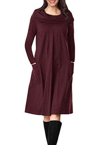 Dress Line Swing Lovezesent Womens Sleeve Long Neck Pockets A Cowl Midi Burgundy with SnwzwAOqY