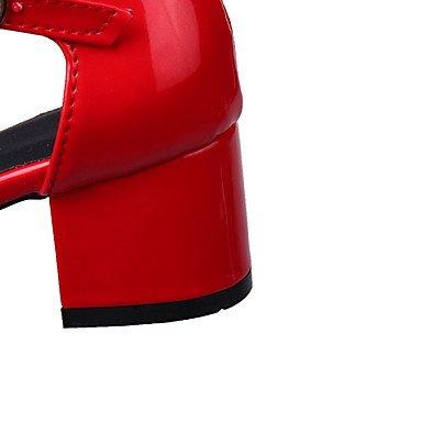 LvYuan Mujer Sandalias Cuero Patentado Primavera Otoño Paseo Hebilla Tacón Robusto Blanco Negro Gris Rojo 2'5 - 4'5 cms White