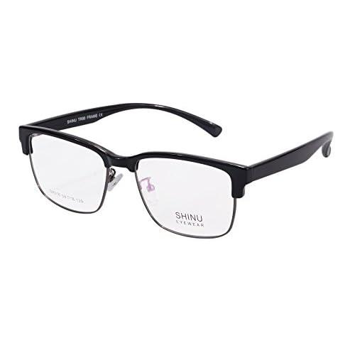 dda77bdec0065 chic SHINU Semi-Rimless Glasses Frame Clubmaster Blue Light Blocking  Eyglasses-SH018