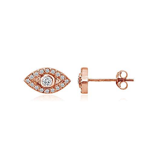 erling Silver Evil Eye Round Bezel-Set Cubic Zirconia Dainty Stud Earrings ()