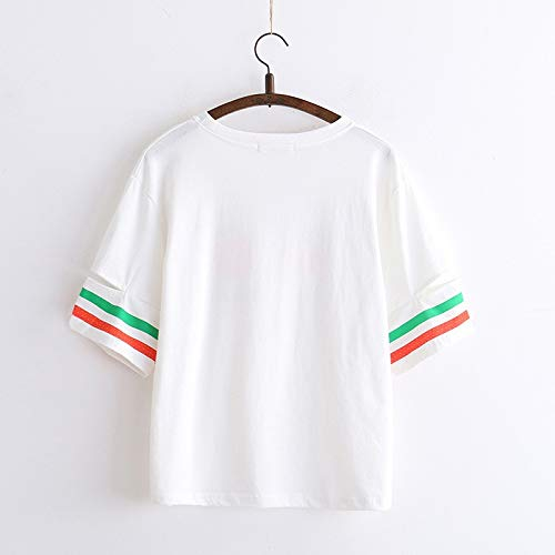 TEEN fashion Women Cute Lovey Summer Solid Pink Punk Style O-Neck Short Sleeve Letter & Eyelash Crop Top Tees T-Shirts