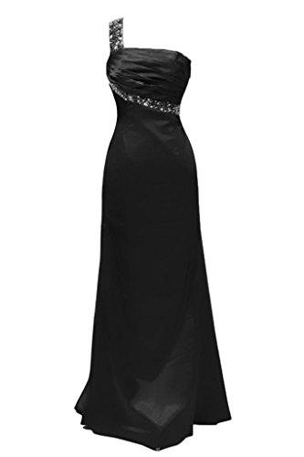 Toscana novia modern un-hombro por la noche de fiesta largo Rhinestone bola Prom vestidos de satén negro