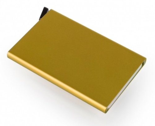 Reddot Award winning Card Protector in gold color, Very Slim Credit Card Holder / wallet with RFID protection, with one click all 6 cards slide out gradually