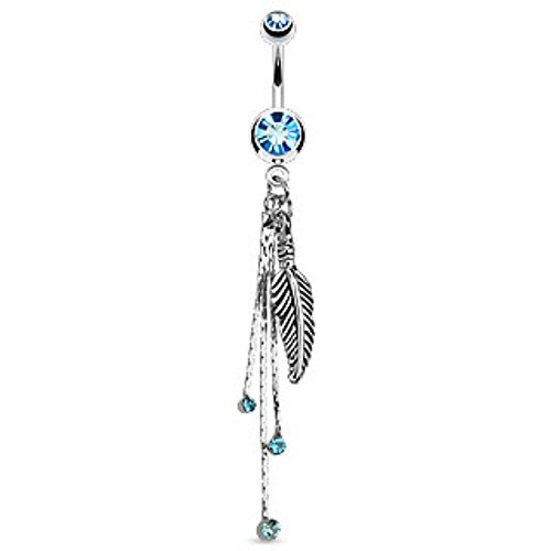 Feather and Chains with CZs Dangle Navel Ring Freedom Fashion 316L Surgical Steel