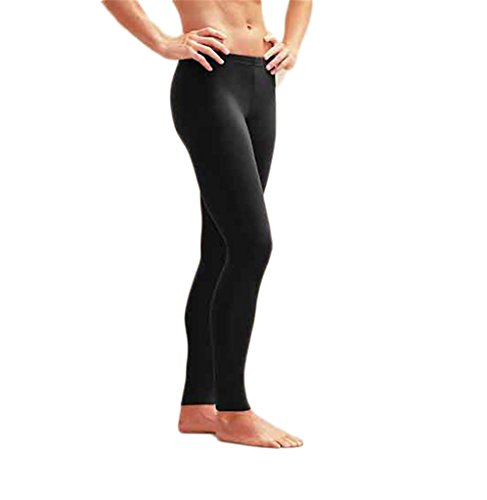 Fortuning's JDS® Men's black long swim tights UV sun protective swimming pants