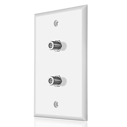 Dual Coaxial F Connector Wall Plate, White for Cable TV & Satellite ()