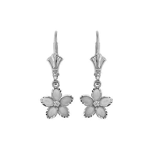 Elegant 14k White Gold Hawaiian Plumeria Flower Diamond Dangle Earrings, 0.95