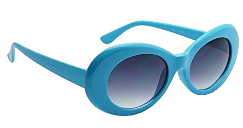 WebDeals - Oval Round Retro Sunglasses Color Tint or Smoke Lenses (Light Blue, - Lens Blue Tint
