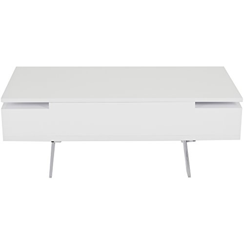 High Gloss White Coffee Table Amazon Co Uk Kitchen Home: MIX High Gloss Lacquer Wood Stainless Steel Legs White