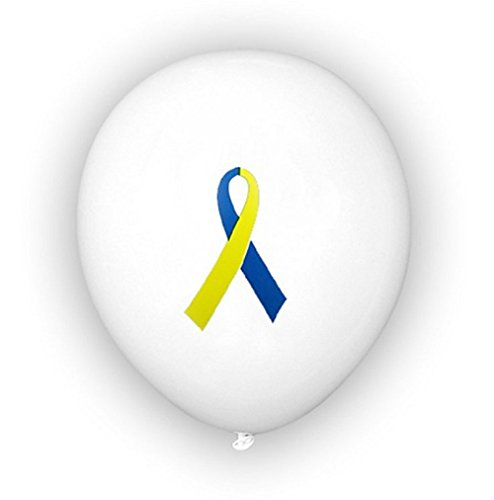 Down Syndrome Awareness Blue and Yellow Ribbon Balloons (50 count) by Autism Awareness Shop