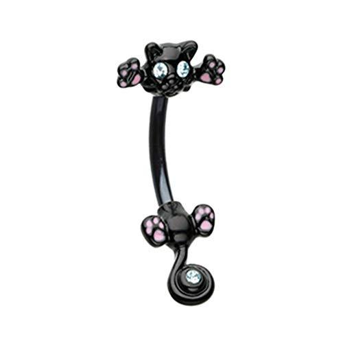 Cat Dangle Belly Button Ring - 14 GA Black Around Kitty Cat Belly Button Ring Davana Enterprises