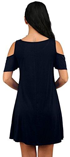 03 Estate Casuale Con Abiti Navy T A Tunica Tasche Donne Blu Fredda Dell'oscillazione Delle Sciolto Battente Spalla Superiore Vestito shirt Neineiwu tSqB4UR