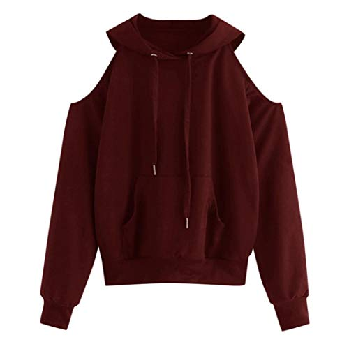 (KFSO Women Solid Long Sleeve Off Shoulder Hooded Pocket Sweatshirt Pullover Blouse (Wine, L))