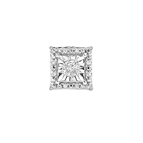 Sterling Silver Best Selling Halo Diamond Earrings 1/4ctw Pair or 1/8ctw Single Princess or Round (1/8ctw Single White Princess)