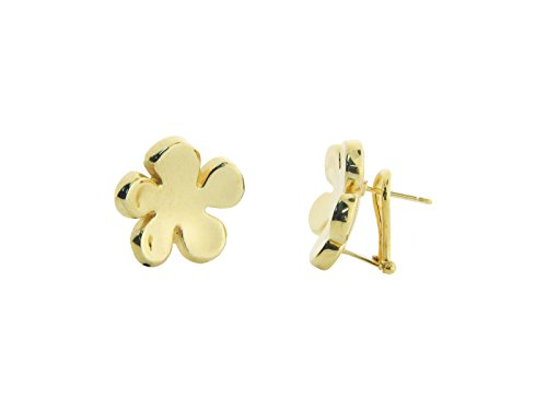 Fronay Co .925 Sterling Silver Electroformed Mirror Finish Flower Clip Earrings dipped in Gold