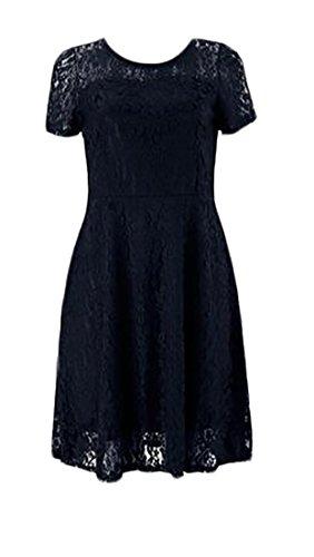 Womens Slim High Pleated Cromoncent Trim Round Waist Fit Black Neck Dress Hollow Lace A1p1fwnxB