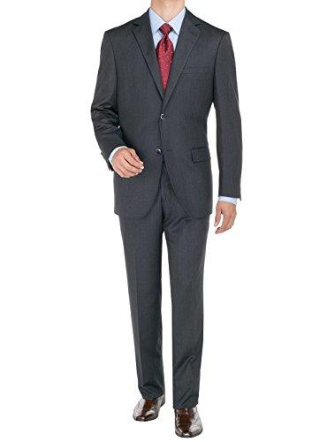 Bianco B Men's Suit Two Button Jacket 2 Piece Plaid Modern Fit Suits (40 Regular US / 50 Regular EU, Charcoal)