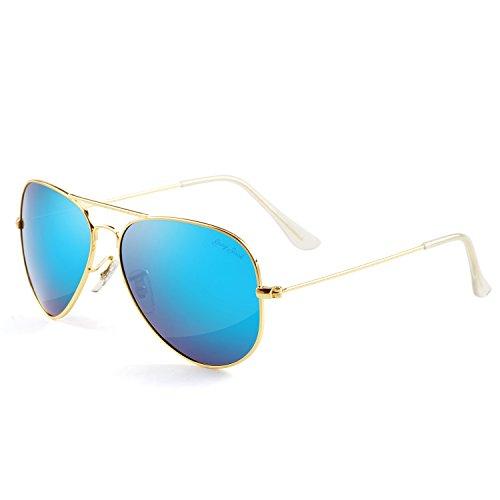 GREY JACK Polarized Classic Aviator Sunglasses Military Style for Men Women Golden Frame Ice Blue Lens - Sunglasses Grey