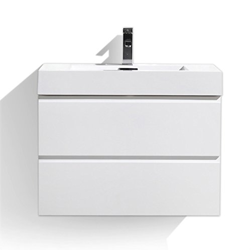 Moreno MOF 30 inch Wall Mounted Modern Bathroom Vanity with Acrylic Sink (High gloss white)