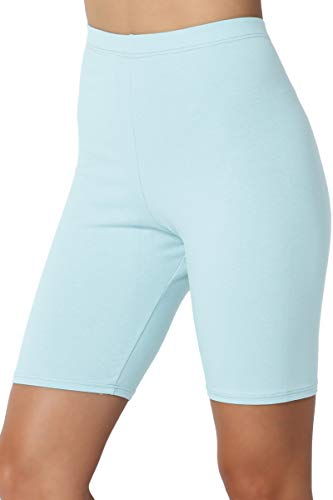 TheMogan Women's Mid Thigh Cotton High Waist Active Short Leggings Baby Blue L