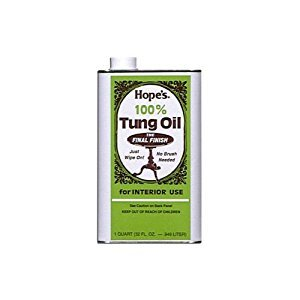 Hope's 100% Pure Tung Oil, Moisture Resistant Wood Finish for All Fine Woods, Furniture and Antiques,32 Ounce Bottle ()