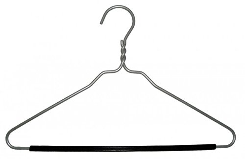 NAHANCO 8405 15'' Brush Aluminum Pant Hanger with clear Plastic Clips (Pack of 100) by NAHANCO
