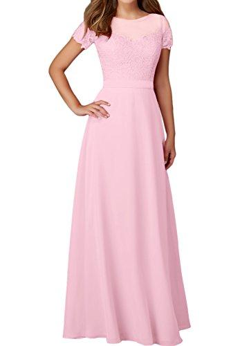 Spitze Aermeln Ivydressing Damen Rundkragen Festkleider Mit Abendkleider Hellrosa Elegant Ballkleid gISqSxY