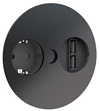 Enchufe Empotrable 2x USB Cocina Cocina Oficina Twist Negro ...