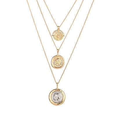 (Vintage Multi-Layer Portrait Pendants Necklace   Charm Gold Round Geometric Necklace   for Women Party Holiday Jewelty)