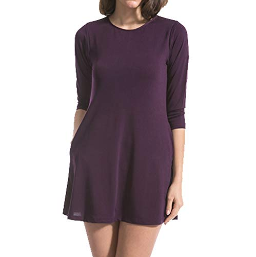 (Emimarol Women Dress Summer Casual 34-Neck Dress Solid Long Sleeve Dress with Pocket Purple)