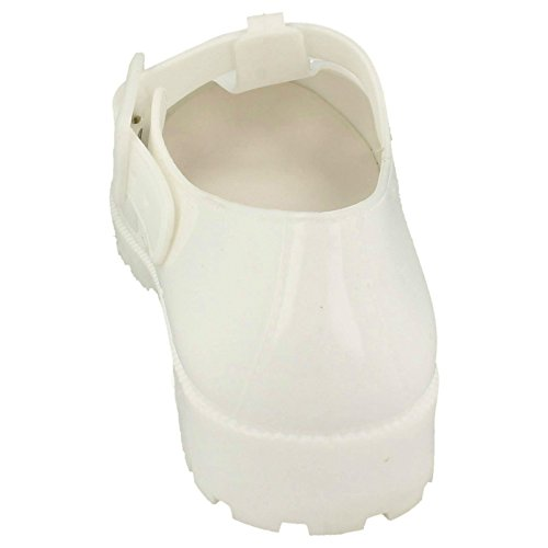Ladies Spot On Buckle T-Bar Jelly Shoe F80045 White olUwgY5