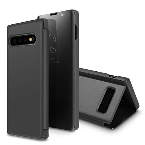 Galaxy S10 Case,SQMCase Translucent S-View Window Mirror Makeup Slim Electroplate Plating Stand Full Body Protective Flip Folio Cover for Galaxy S10,Black