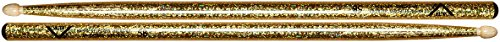 Vater Percussion Color Wrap 5B Drumsticks, Gold Sparkle, Wood Tip (Color Drumsticks)