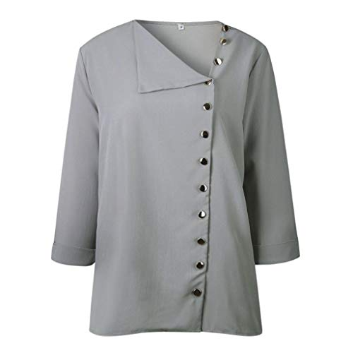 Manches Longues contract Chemisier Femme Dames Col D Boucle Xinantime Automne Hiver et Shirt Femme Chemise Gris Revers T wa7wxq06O